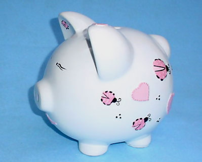 Ladybug and Heart Piggy Bank :: For That Occasion :  customize heart ladybugs love bug